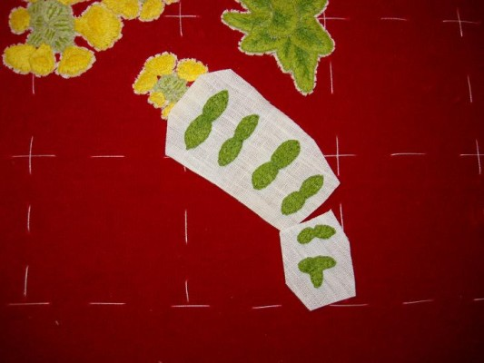 Ruth O'Leary Textile Art: rough cut-outs of embroidered ferns on St Cuthbert's Banner