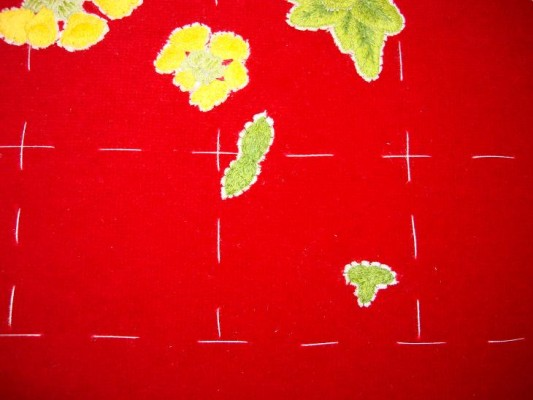 Ruth O'Leary Textile Art:  top and bottom leaves of embroidered ferns on St Cuthbert's Banner