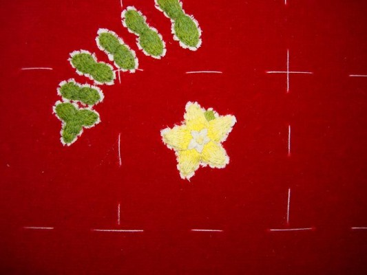 Ruth O'Leary Textile Art - first embroidered pearlwort