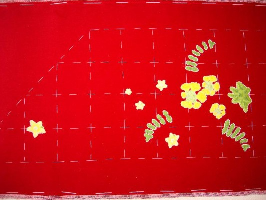 Ruth O'Leary Textile Art - work so far: all pearlworts appliqued onto St Cuthbert's Banner