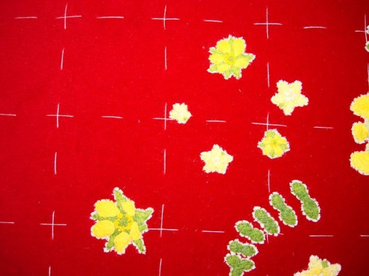 Ruth O'Leary Textile Art - all three wood avens appliqued onto St Cuthbert's Banner