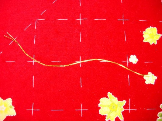 Ruth O'Leary Textile Art - goldwork stem tacked in place