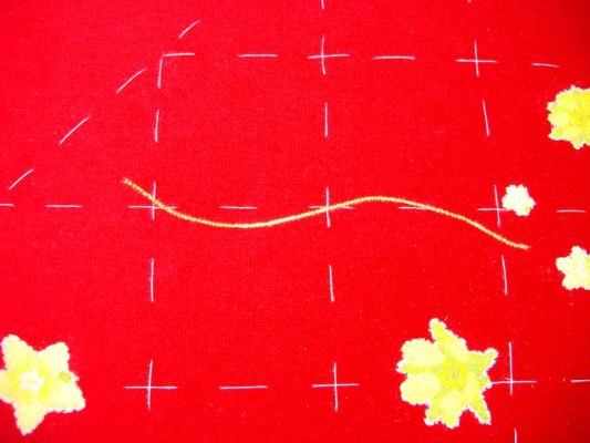 Ruth O'Leary Textile Art - goldwork stem stitched down
