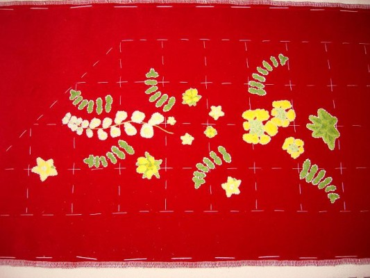 Ruth O'Leary Textile Art - left side of St Cuthbert's Banner panel