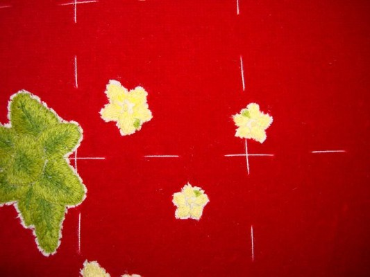 Ruth O'Leary Textile Art - three little embroidered pearlworts